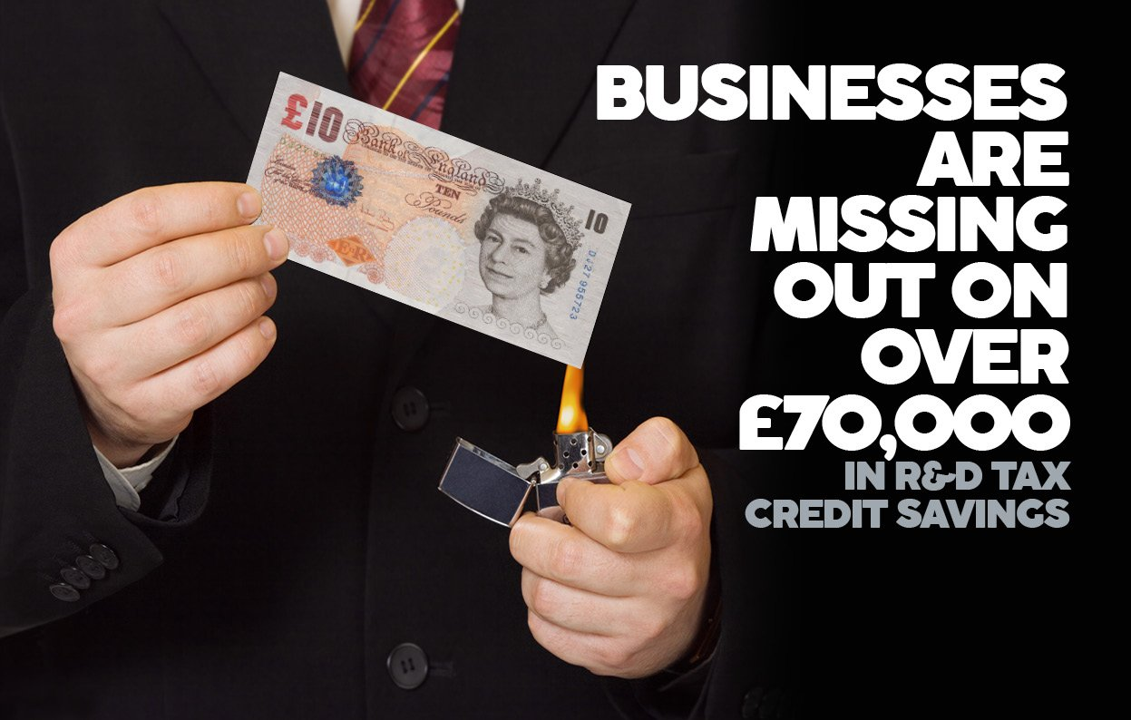 BUSINESSES MISSING OUT ON OVER £70,000 IN R&D TAX CREDIT SAVINGS